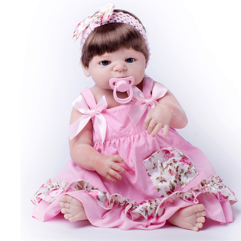 Full Silicone Doll Reborn Babies Cute Pink Cloth Gift For Girls Toy Baby Alive Brinquedos Realer Reborn Dolls Baby-born Present 2016 cotton body reborn babies lifelike princess girls doll toy rooted mohair gift for baby reborn poupon brinquedos new year