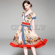 Cuerly New Arrivals 2019 Summer Luxury Runway Womens Dress High Quality Fashion Short Sleeve V Neck Print Vintage dresses