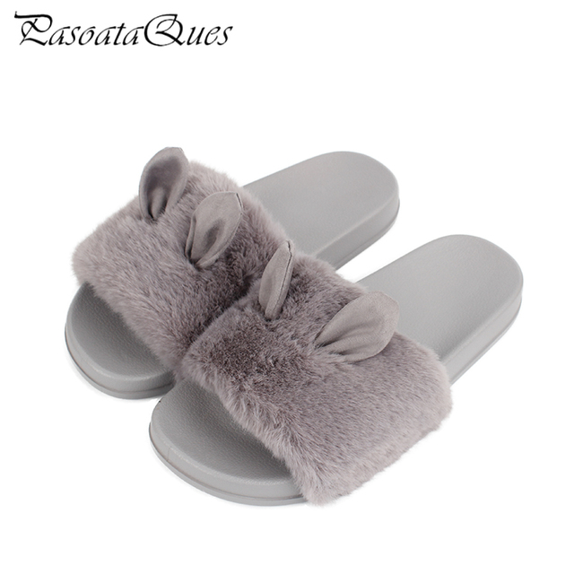 5ed1bc49 New Spring Fashion Simulation Fur Women Slippers Rabbit Ears Breathable Indoor  House Women Home Shoes PasoataQues Brand 1707