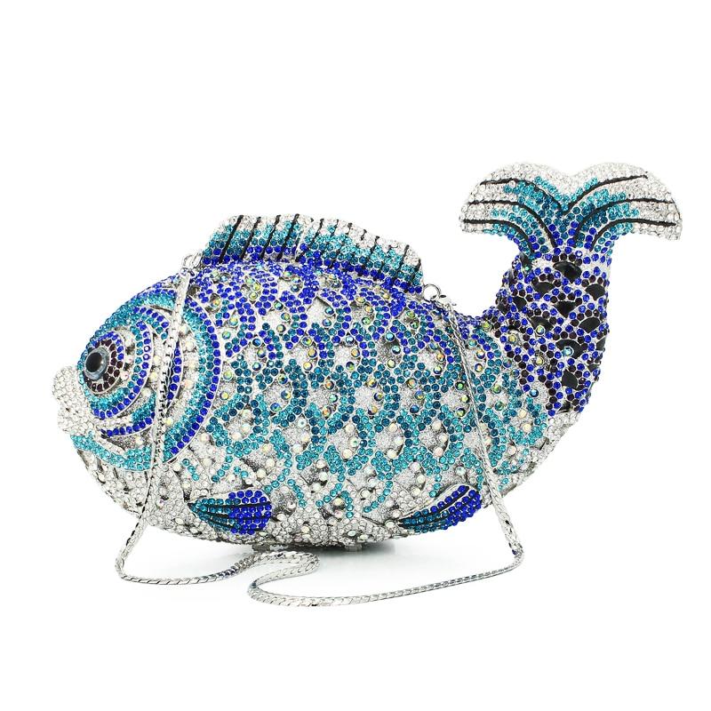 Роскошная обувь с украшением в виде кристаллов Вечерние сумки ручной работы рыбы Форма клатч Сумки Для женщин партии кошелек diamond вечерние