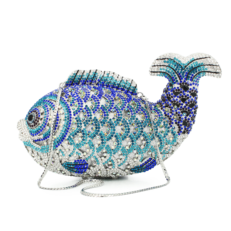 Luxury Crystal Evening Bags Handmade Fish Shape Clutch Bags Women Party Purse Diamond Party Evening Handbag(88129A-B)