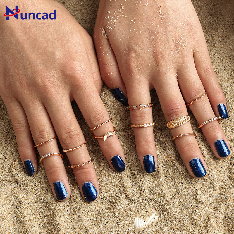 New Fashion Vintage Carving Ring Sets Gold-color Punk Knuckle Rings For Women Anillos Mu ...