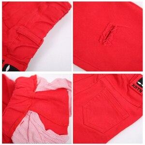 Image 5 - I Jeans per il Ragazzo Rosso di Autunno della Molla Casual Bambini Strappato Nero Pantaloni Dei Ragazzi del Cotone Strappato Hole Pantaloni Vestiti Dei Bambini 2 4 6 8 10 anni