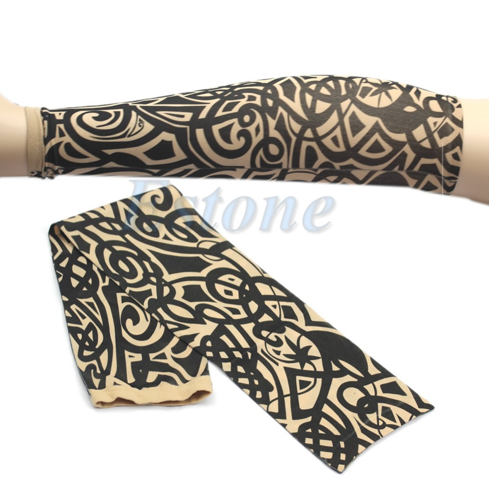 Elastic Tattoo Sleeve 1Pcs Care Nylon Stretchy Arm Stockings 1 Colors To Choose Outdoor Fake Temporary Tattoo Sleeves