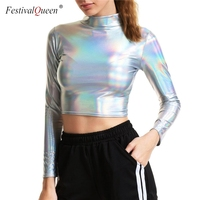 Metallic Farbe Frauen Bodenbildung T Shirt Sexy Rollkragen Langarm Crop Top Dünne Dünne Bodycon T Shirts Party Club T der Camis