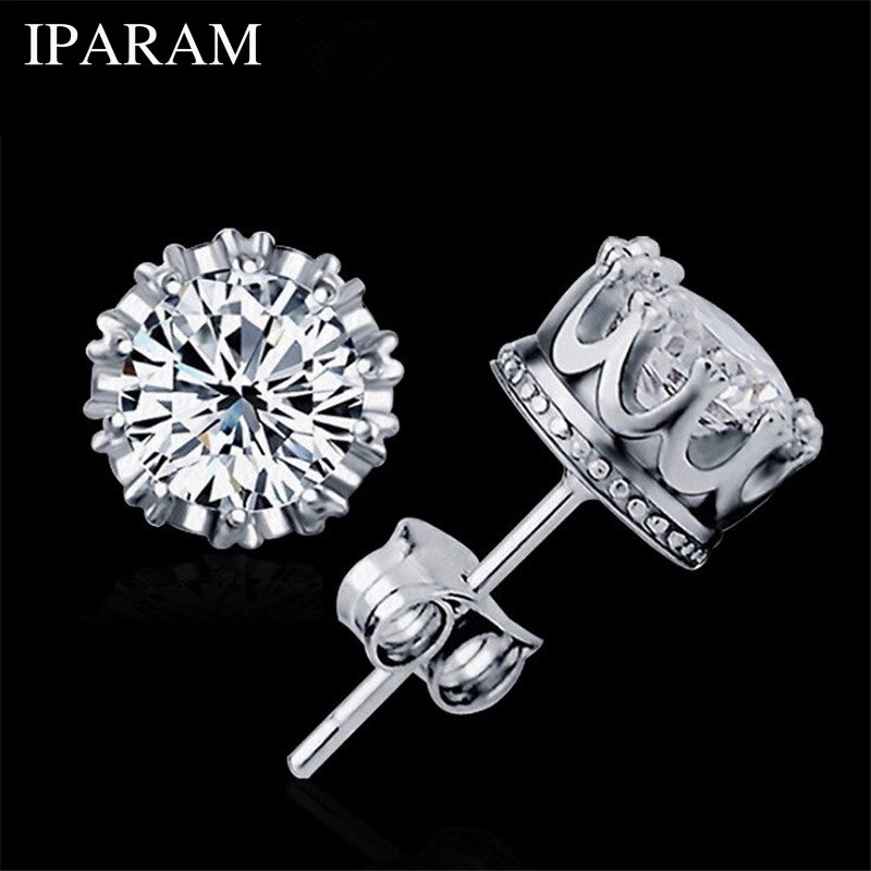 Silver Color Fashion Jewelry 8MM Round 2 Carat Cubic Zirconia Stud Earrings For Women