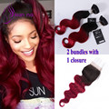 Ombre Body wave Bundles in stock 2 bundles with 1 Closure T1b/burgundy Brazilian virgin human hair Weave Bundles 7A best quality