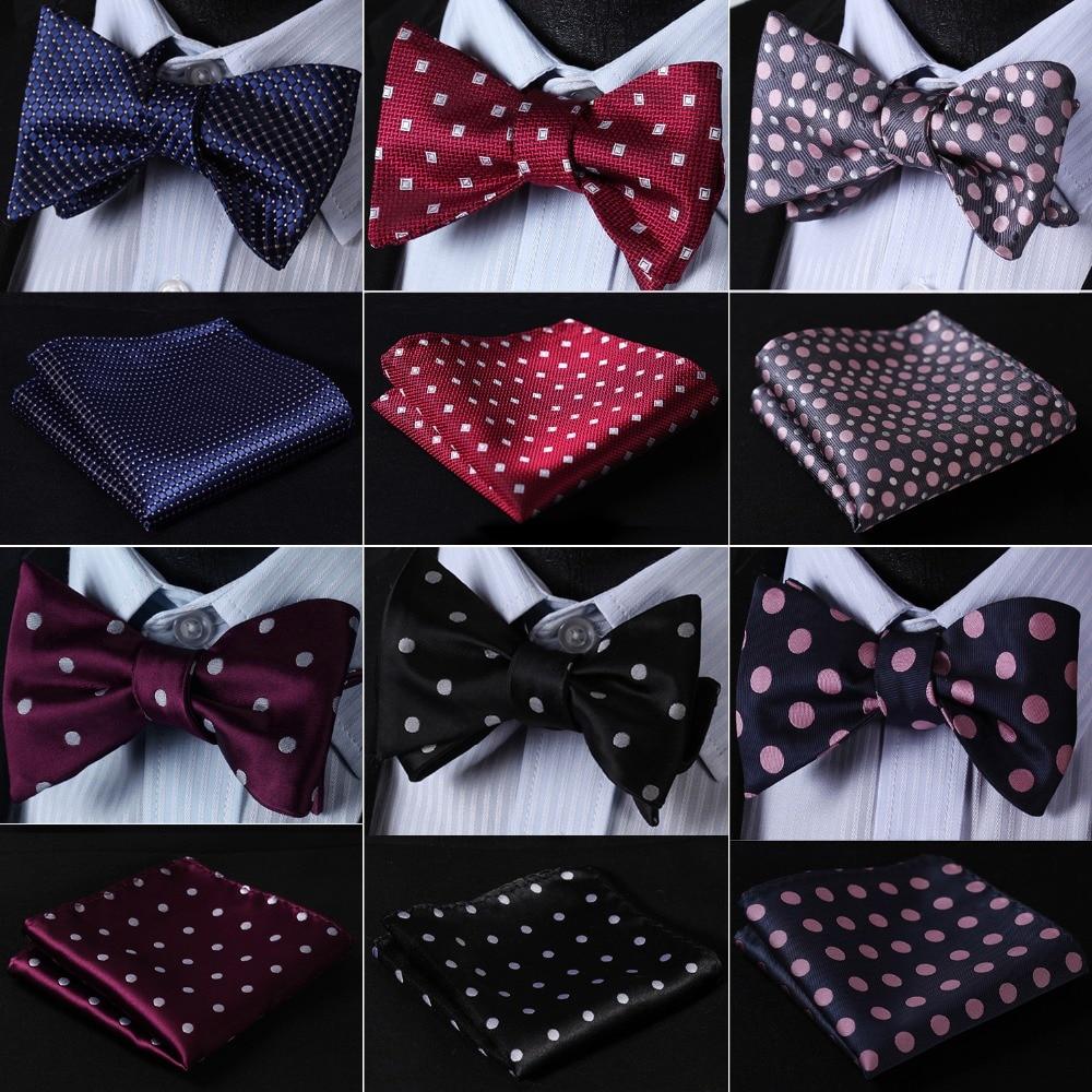 3pcs Set Sense Mens Polka Dot Jacquard Wedding Party Self Bow Tie Pocket Square Set Blue