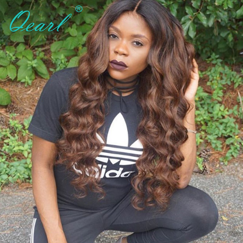 Qearl Hair Pre Plucked Lace Front Human Hair Wig Two Tone Ombre Brazilian Lace Front Wigs With Baby Hair 130% Density Remy Hair ...