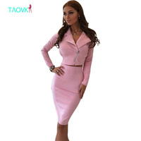 TAOVK Women Suede Suits Women 2 Piece Set Jackets Skirts Suits For Women