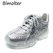 Bimolter 2019 New Platform Sneakers Women Pointed Toe Rhinestone Diamond Crystal Transparent Bottom Casual Shoes Woman NB116