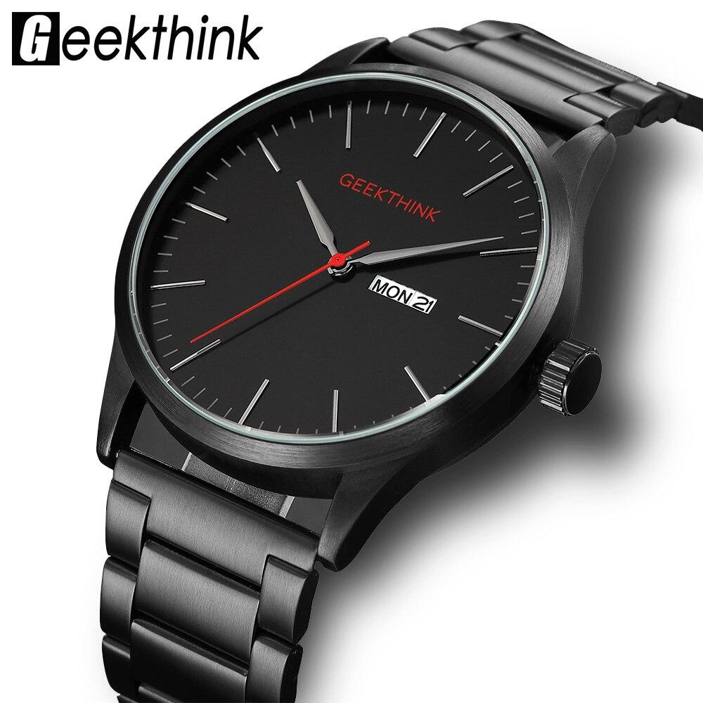 Geekthink Japón cuarzo relojes hombres moda Casual lujo Top marca hombre reloj hombre fecha analógico reloj de pulsera de diseño