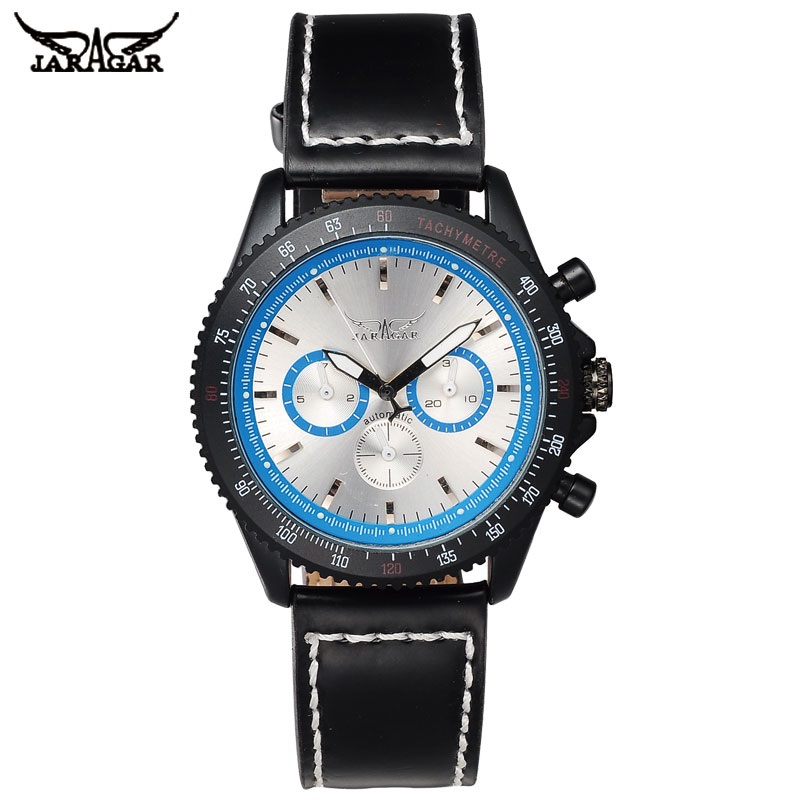 JARAGAR Automatic Self-Wind Mens Watches Luxury Mechanical Watch Shock Resistant Complete Calendar Watch For Men jaragar automatic mechanical self wind tourbillon complete calendar dial leather band men wrist watch