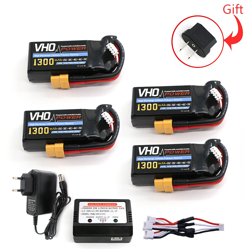 Дуо 4шт 11.1 В 3S 1300мач 30С разряда LiPo батареи jst/разъемы xt60/Т разъем и зарядное устройство ЕС лопнет 60С Высокая скорость RC модели части