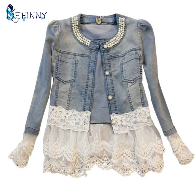 Stitching Lace Stitching Long-sleeved Denim Jacket Large Size Jeans Long Sleeve Women Jacket Women\'s Outerwear Plus size