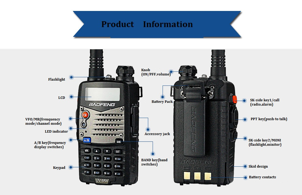 Baofeng UV-5RA Jambon radio baofeng UV-5R mise à niveau version Dual-Band Transceiver talkie walkie Portable Radio Stations