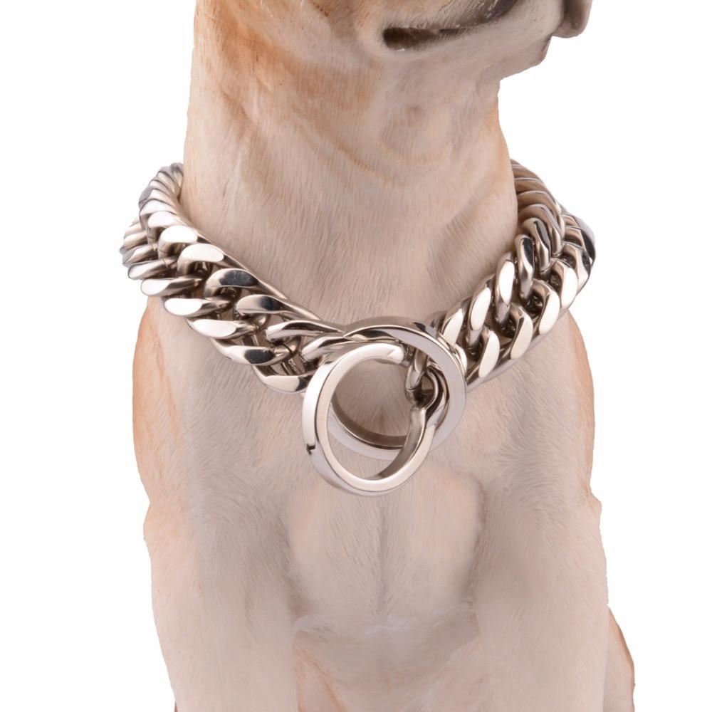 16/18mm de large 14-34 pouces collier de chaîne de chien couleur argent Double bordure collier cubain Rombo chaîne lien en acier inoxydable bijoux pour animaux de compagnie