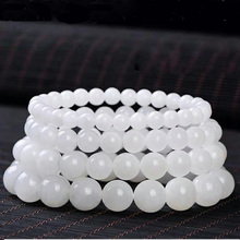 Drop Shipping Natural White Jade Beads Bracelet Lucky Amulet Sprinkle Jade Stone Bracelet For Women Men Gift natural green agate beads bracelet drop shipping lucky amulet sprinkle jade stone bracelet for women men gift