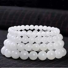 Drop Shipping Natural White Jade Beads Bracelet Lucky Amulet Sprinkle Stone For Women Men Gift