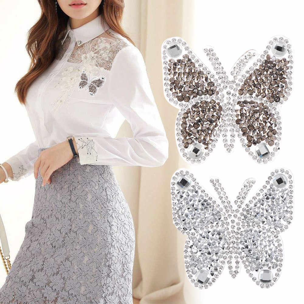 1pc Iron-Hotfix Rhinestone Patches Kleding Accessoires Vlinder Motieven Sticker Thermische Transfer Kledingstuk Decor Diy Craft
