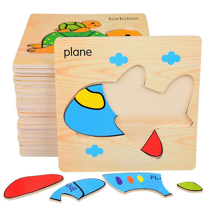 8 Pcs Education Wooden Toys 3D Puzzle kids Gift Brain Jigsaw Cartoon Animal Wooden Puzzles For Children Montessori Toys Puzzle children alphanumeric jigsaw puzzle toys foam mat 36 pieces per package education toys building
