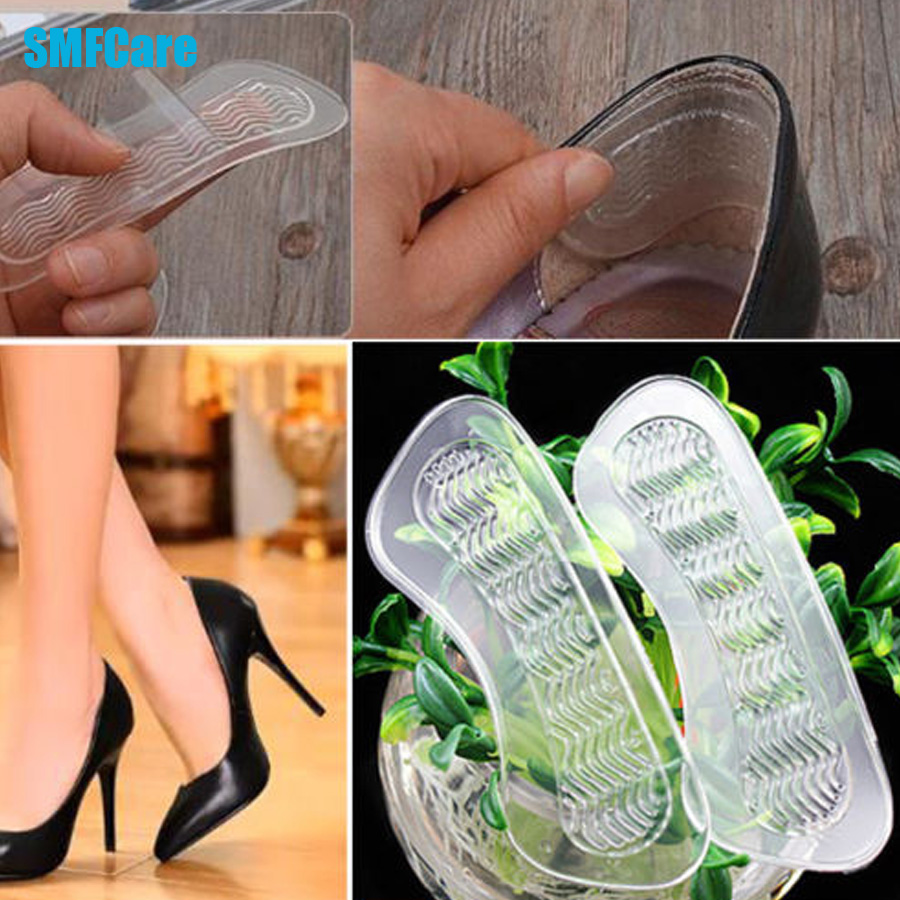 2Pcs Rearfoot Invisible Silica Gel Anti-Slip High Heel Shoes Cushions Gel Heel Back liner Silicone Insoles Z05701