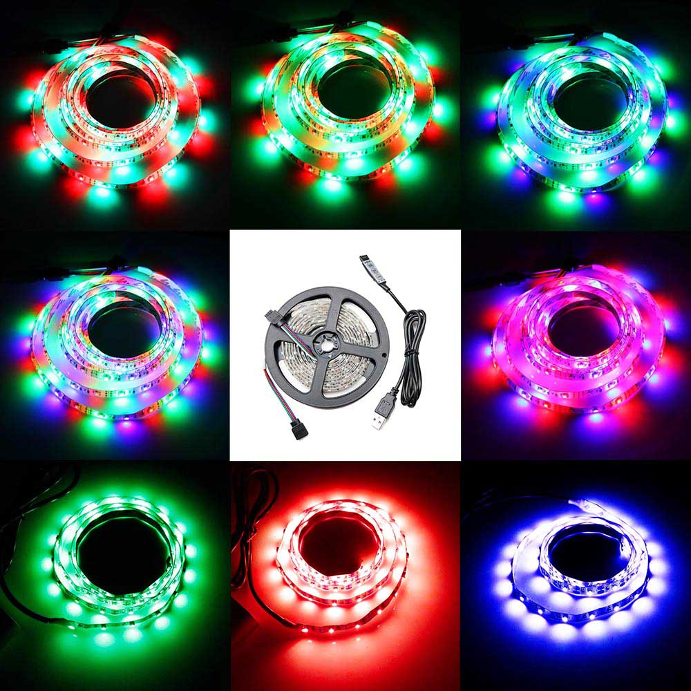 USB-ledare 5V 60leds / m RGB 7 färger lampa Tape SMD 3528 SMD-chip - LED-belysning - Foto 2