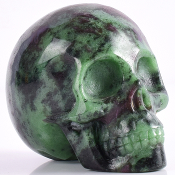 3 inch Natural Ruby Zoisite  refinement Skull figurine gemstone Carved Realistic statue healing Home Ornament art collectible 1