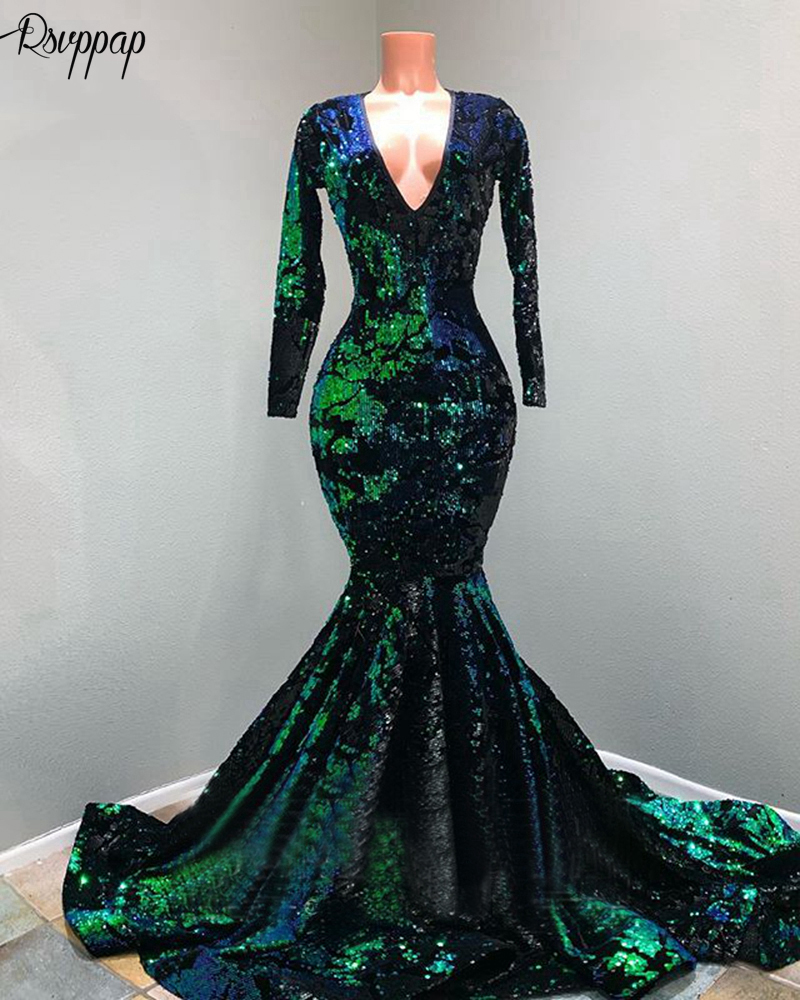 Long Mermaid Prom Dresses 2020 Sparkly Sequin Long Sleeve V-neck Emerald Green And Black African Black Girl Women Prom Dress