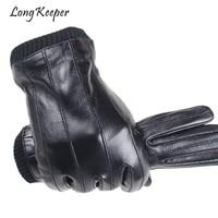 Men Real Genuine Leather Gloves High Quality Sheepskin Gloves Plus Velvet Keep Warm Winter Fireproof Guantes