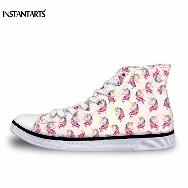 INSTANTARTS 3D Horse Design Women Vulcanize Shoes Classic High Top Canvas Shoes for Ladies Female Casual Flat Sneaker Shoes