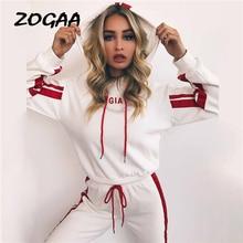 ZOGAA Womens Tracksuit Two Piece Set Casual Sportswear 2 Women White Red Sweat Pants Hooded Cropped Sweatshirt Hoodie