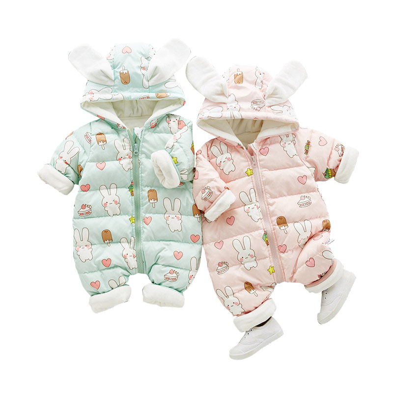 Russia Winter Baby Rompers New Born Baby Girls Pakas Thick Down Baby Ropa Warm Outerwear For Baby Girls Cute Clothes Cute Rabbit russia winter boys girls down jacket boy girl warm thick duck down