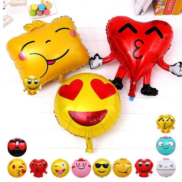 Creative Expression Balloons Emoji Foil Happy Birthday Party Emoticons Helium Wedding Decoration Kids Toy