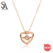 SA SILVERAGE Necklaces Real Gold Jewelry 18K Rose Heart Pendant for Woman Diamond Chain
