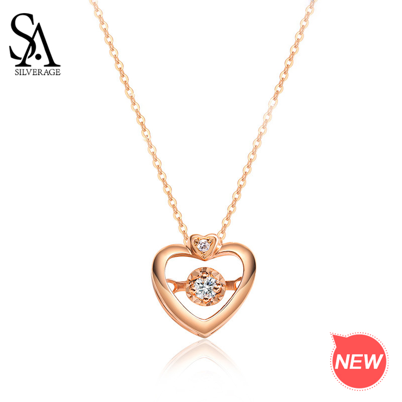 SA SILVERAGE colliers vrai or bijoux 18 K or Rose coeur pendentif colliers pour femme diamant pendentif chaîne pendentif colliers