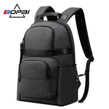 BOPAI Water Repellent Nylon Korean School Backpacks for Boys Brand Men Business Charging Backpack Grey Laptop Youth
