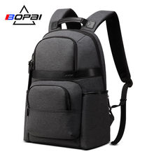 BOPAI Water Repellent Nylon Korean School Backpacks for Boys Brand Men Business Charging Backpack Grey Laptop Backpack Youth(China)