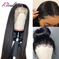 13x6 Lace Frontal Human Hair Wigs Pre Plucked Hair Line Brazilian Straight Lace Frontal Wig with Baby Hair Remy Hair Kiss Love