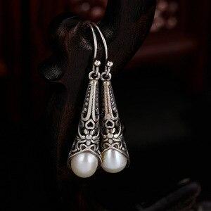 L & P Nova Chegada Do Vintage Longos Brincos Pendurados Para A Senhora Real 925 Sterling Silver Pearl Brincos Ocos Padrão Acessórios