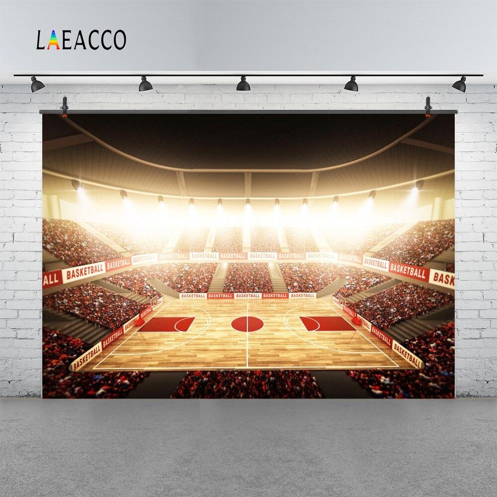 Us 3 67 8 Off Laeacco Photo Backgrounds Nba Basketball Court Stadium Spotlight Fans Wallpaper Pattern Portrait Backdrop Photocall Photo Studio In