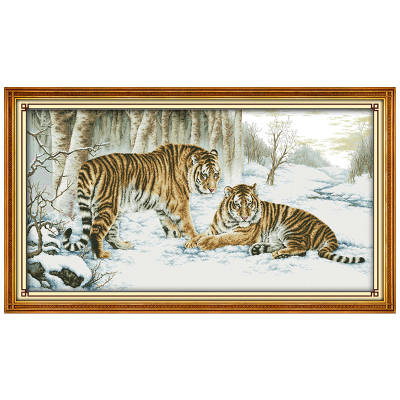 Big Size Tiger Painting Counted Cross Stitch 11CT Printed 14CT Cross Stitch Set Animals Cross-stitch Kits Embroidery Needlework