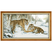 Big Size Tiger Painting Counted Cross Stitch 11CT Printed 14CT Cross Stitch Set animals Cross-stitch Kits Embroidery Needlework(China)