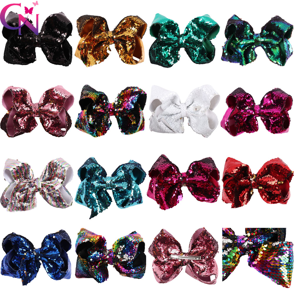 "8"" Large Reversible Sequin Hair Bows Hair Clips For Kids Girls Mermaid Sequin Jumbo JoJo Bows Hairgrip Rainbow Hair Accessories"