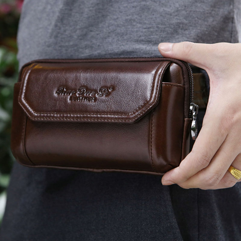 YIANG Men Genuine Leather  Cowhide Cell Mobile Phone Case Cover Purse Cigarette Money Hip Belt Fanny Bag Waist Pack Father Gift