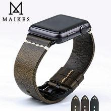Ремешок для часов maikes из вощеной кожи Винтажный Зеленый браслет