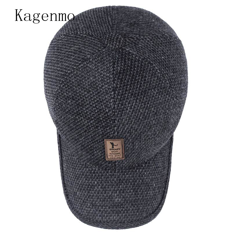 33628a1d0fc Kagenmo Fashion male winter hat winter keep warm baseball cap ear  protection man visor thick cloth warmth-in Baseball Caps from Apparel  Accessories on ...