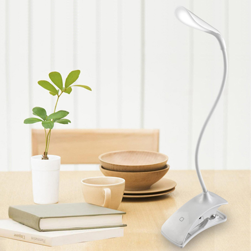 ICOCO High Quality 14 LEDs Clip-On USB 3 Modes Dimmable 600LX 5500K-6000K Rechargeable Touch Sensor Reading Light Deak Lamp New