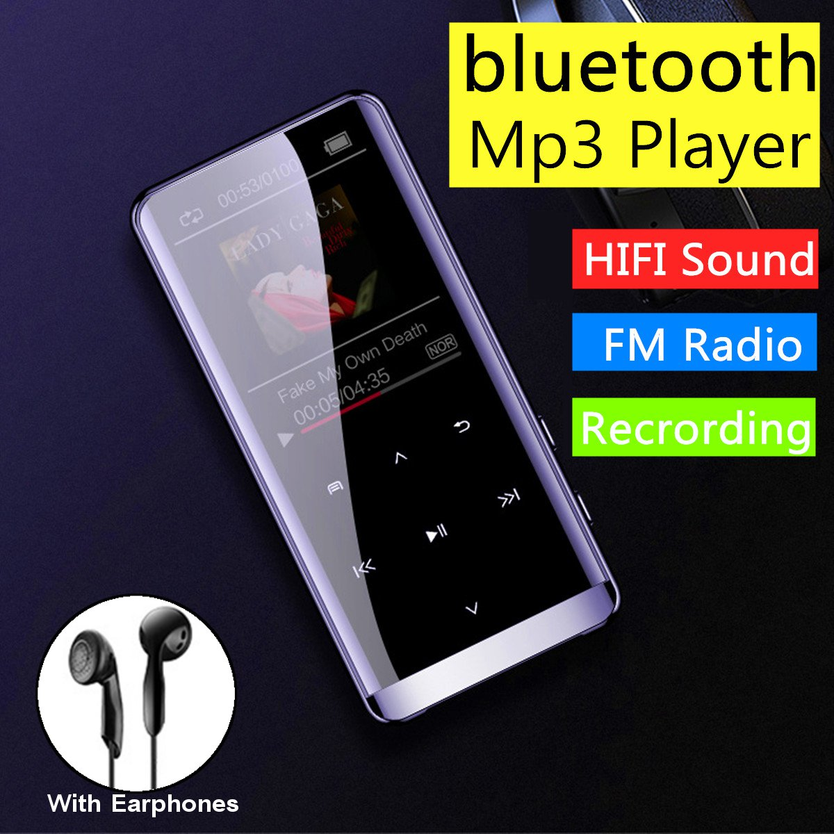 16GB bluetooth MP3 Player Earphones HiFi fm Radio mini USB mp3 Sports MP 4 HiFi Portable Music Players Voice Recording Recorder