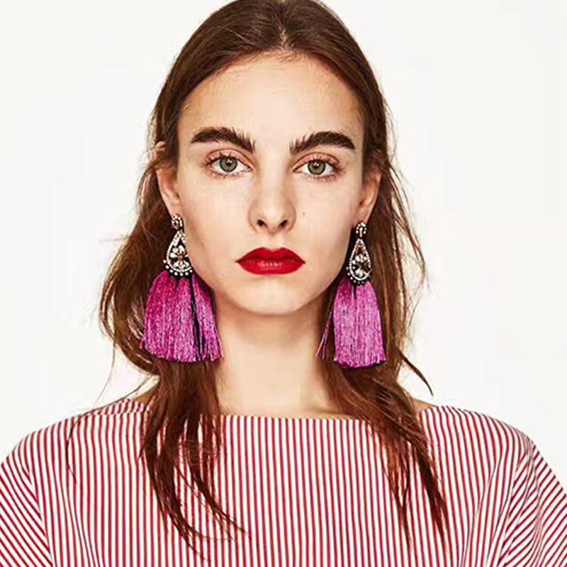Crazy Feng Luxury Vintage Tassel Earrings Ethnic Flower ZA Danglel Drops Earrings For Women Fashion Statement Jewelry Earring